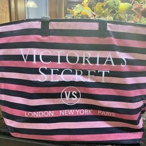 Large Victoria's Secret Striped Pink Canvas Tote